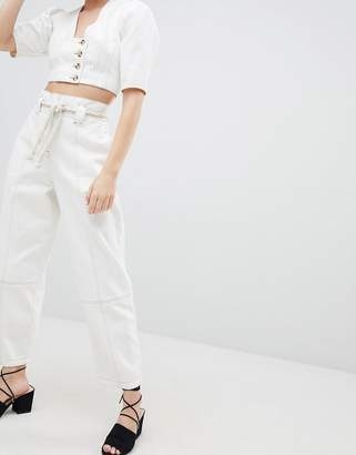Asos DESIGN paperbag waist boyfriend jeans with rope belt in white with contrast stitch