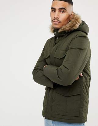 Paul Smith down padded parka jacket with faux fur hood in khaki