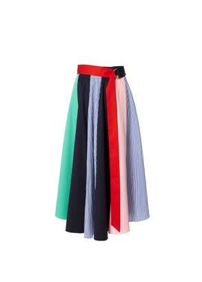 Tibi Color Block Skirt with Tie
