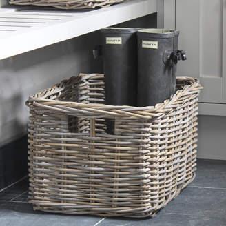 Marquis & Dawe Grey Rattan Deep Rectangular Basket
