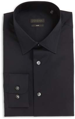 Ermenegildo Zegna Slim Fit Solid Stretch Dress Shirt