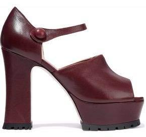RED Valentino Leather Mary Jane Platform Sandals
