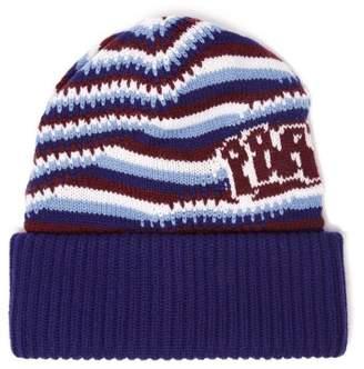 Prada Logo Jacquard Knitted Cashmere Beanie Hat - Womens - Blue