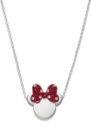 Disney Silver Plated Crystal Minnie Mouse Pendant Necklace $60 thestylecure.com