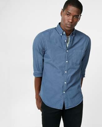 Express Slim Garment Dyed Button Collar Long Sleeve Cotton Shirt
