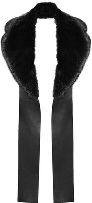 Oversized Faux Fur And Leather Scarf - Black