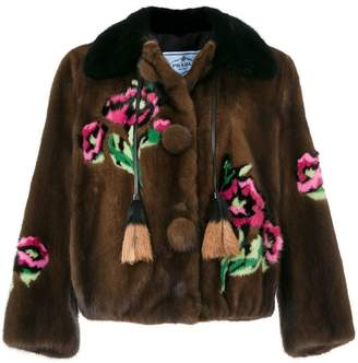 Prada floral pattern tassel detail jacket
