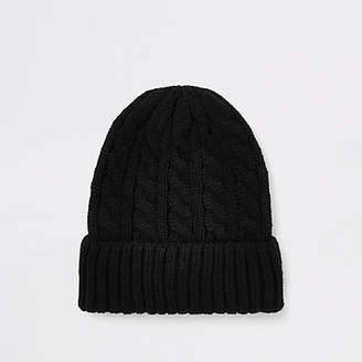 River Island Black cable knit fisherman beanie hat