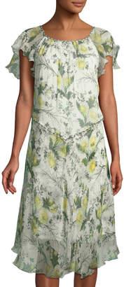 Leon Max Floral-Print Silk Ruffled Dress