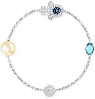 Swarovski Remix Collection Two-Tone Pave Hamsa and Trust Magnetic Closure Bracelet