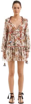 Anjuna Floral Print Lurex Georgette Dress