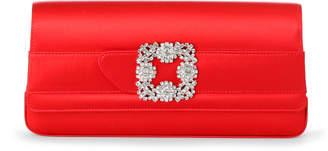Manolo Blahnik Gothisi red satin clutch