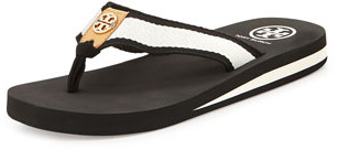 Tory Burch Ray Rubber Flip-Flop, Black/Ivory/Honey