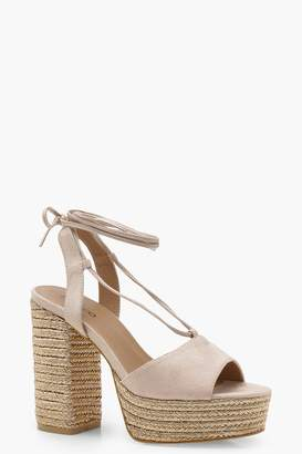 boohoo Lacey Espadrille Wrap Up Platforms