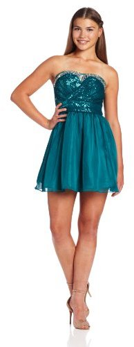 As U Wish Juniors Strapless Sequin and Jewel-Trim Party Dress