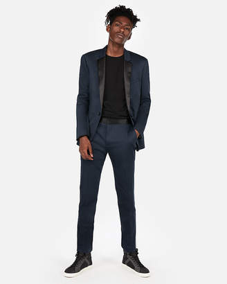 Express Extra Slim Navy Cotton Sateen Satin Accent Tuxedo Pant
