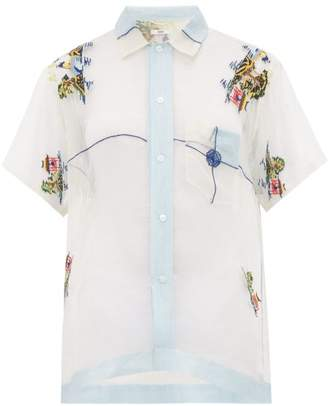 Bode - Pagoda Embridered Sheer Silk Bowling Shirt - Womens - Light Blue