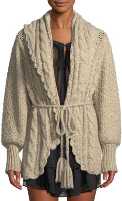 LoveShackFancy Owen Shawl-Collar Alpaca Cable-Knit Cardigan Sweater
