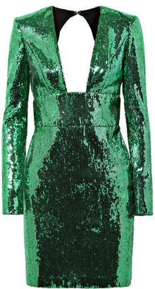 Dundas - Open-back Sequined Chiffon Mini Dress - Green