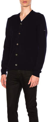 Comme des Garcons Lambswool Cardigan with Small Black Emblem Sleeve in Navy | FWRD
