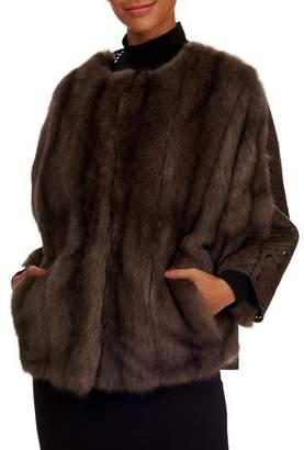 Tsoukas Russian Sable Fur Cape Coat w/ Leather Detail Back