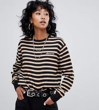 Ellesse Knitted Sweater With Embroidered Chest Logo In Contrast Stripe