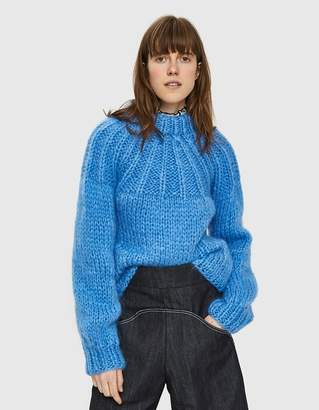 Ganni Julliard Mohair Open Back Pullover in Marina