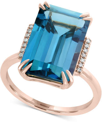 Effy London Blue Topaz (9-3/4 ct. t.w.) & Diamond Accent Ring in 14k Rose Gold