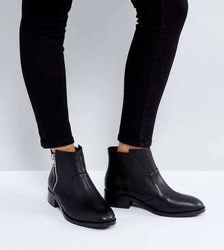 Asos Design AMPLE Leather Zip Ankle Boots