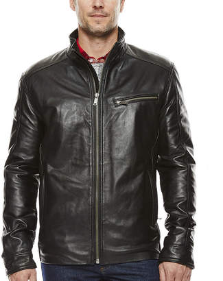 Asstd National Brand Vintage Leather Straight-Bottom Lambskin Leather Jacket