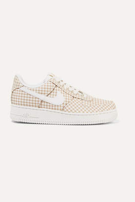 Nike Air Force 1 Leather And Pvc-trimmed Gingham Canvas Sneakers - Beige