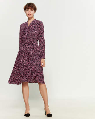 Nanette Lepore Nanette Printed Pleated Belted Shirtdress