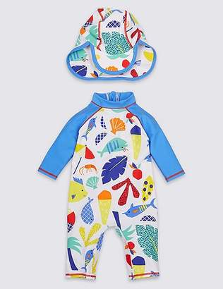 Marks and Spencer 2 Piece All Over Print Swimsuit with Hat