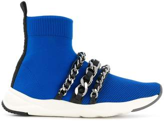 Balmain chain-embellished knitted sneakers