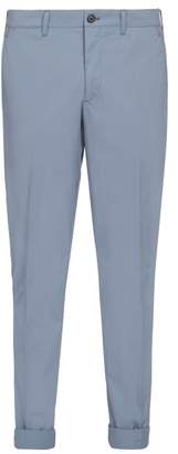 Prada Slim Leg Cotton Blend Chino Trousers - Mens - Light Blue