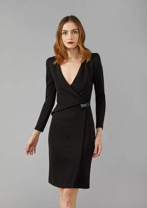 Giorgio Armani Wrap Dress With Crossover Neck And Plexiglas Closure