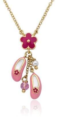 Little Miss Twin Stars Girls' Ballet Beauty 14k Gold-Plated Enamel Ballet Shoe and Flower Chain Pendant Necklace