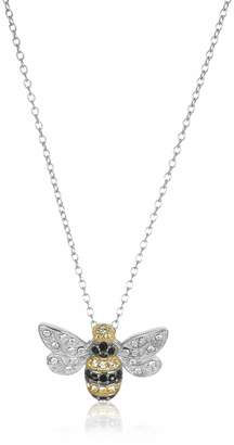 "Swarovski Amazon Collection Sterling Silver Bumblebee Pendant Necklace Made with Crystal (18"")"