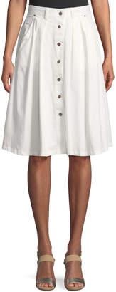 Madisonne Button-Front Summer Midi Skirt