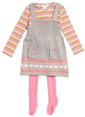 Toddler Girls Sweater Jumper With Long Sleeve & Tights