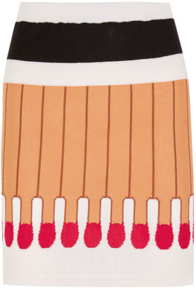 Moschino - Intarsia Wool Mini Skirt - Beige $395 thestylecure.com