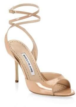 Manolo Blahnik Bartagina 105 Patent Ankle Strap Sandals