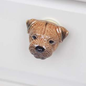 And Mary Porcelain Border Terrier Drawer Pull