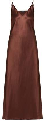Joseph Clea V Neck Satin Slip Dress - Womens - Brown