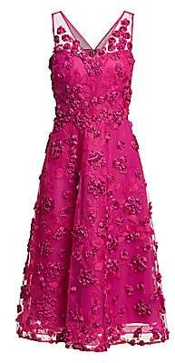 Teri Jon by Rickie Freeman Women's Appliquéd Embroidered Dress