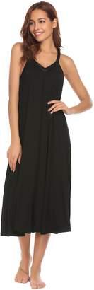 Ekouaer Sleeveless Nightgown Women's V Neck Sleepwear Dress Satin Trim Chemise S-XXL