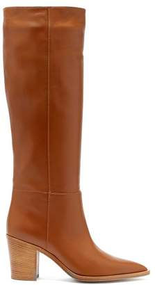 Gianvito Rossi - Knee High Leather Boots - Womens - Light Tan