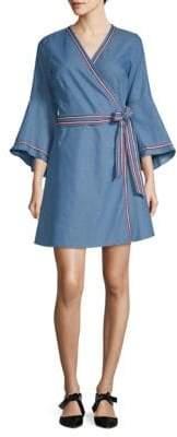 Racer Stripe Bell-Sleeve Wrap Chambray Dress