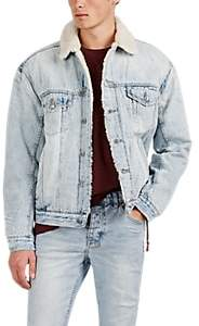 Ksubi Men's Oh G Sherpa-Lined Distressed Cotton Denim Jacket - Lt. Blue
