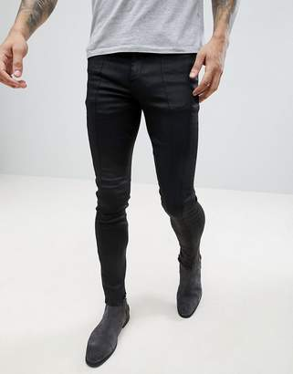 Asos DESIGN Extreme Super Skinny In Black With Cut And Sew Panelling
